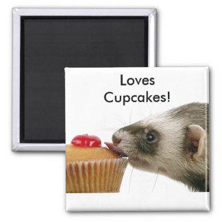 Ferrets Love Cupcakes Square Magnet