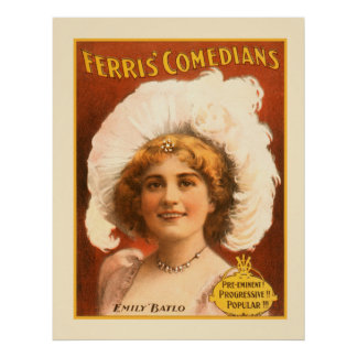 Ferris Arts Comedians Performing Vintage Poster
