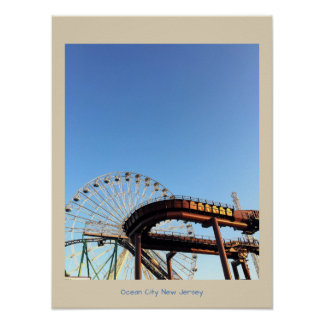 Ferris Wheel and Rollercoaster Ocean City Poster