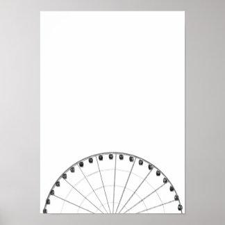 Ferris Wheel Black & White Minimalist Poster