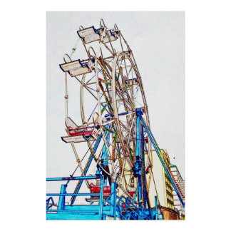 Ferris Wheel-Chalk Outline by Shirley Taylor Poster