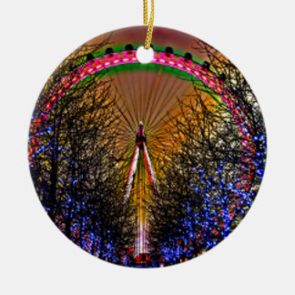 Ferris Wheel Christmas Lights Ceramic Ornament
