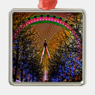 Ferris Wheel Christmas Lights Metal Ornament