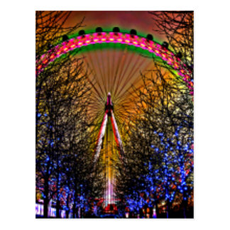 Ferris Wheel Christmas Lights Postcard