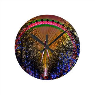 Ferris Wheel Christmas Lights Round Clock