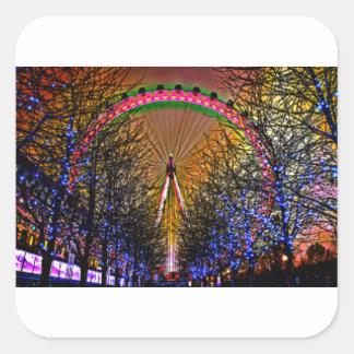 Ferris Wheel Christmas Lights Square Sticker