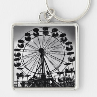 Ferris Wheel in Black and White Photo Gifts Silver-Colored Square Key Ring