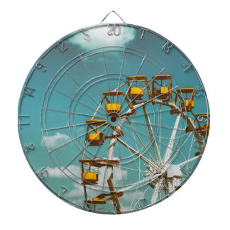 Ferris Wheel In Fun Park On Blue Sky Dart Board