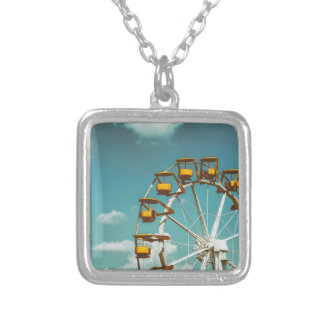 Ferris Wheel In Fun Park On Blue Sky Silver Plated Necklace