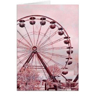Ferris Wheel In Pink Greeting Birthday Card Greeting Card