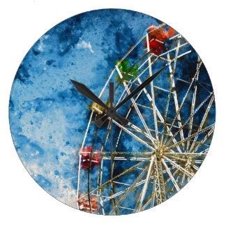 Ferris Wheel in Santa Cruz California Large Clock