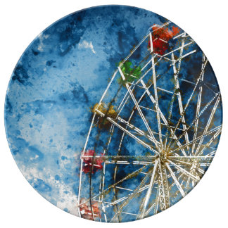 Ferris Wheel in Santa Cruz California Plate