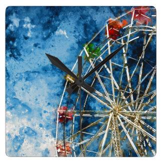 Ferris Wheel in Santa Cruz California Square Wall Clock