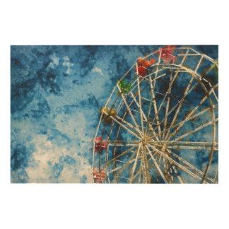 Ferris Wheel in Santa Cruz California Wood Print