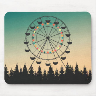 Ferris wheel in sunset sky illustration mouse pad
