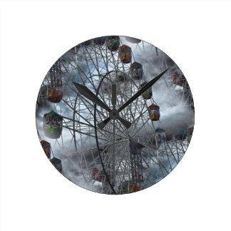 Ferris Wheel in the Clouds Round Clock