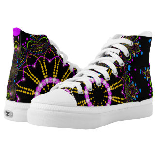 Ferris Wheel Pink Gold and Black Groovy Mandala High Tops
