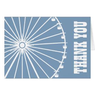 Ferris Wheel Thank You Card Blue Gray White