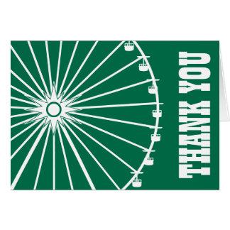 Ferris Wheel Thank You Card Green White