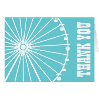 Ferris Wheel Thank You Card Teal White
