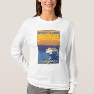 Ferry and Mountains - Friday Harbor, Washington T-Shirt