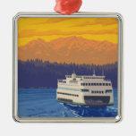 Ferry and Mountains - Seattle, Washington Christmas Tree Ornaments