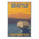 Ferry and Mountains - Seattle, Washington Wood Prints