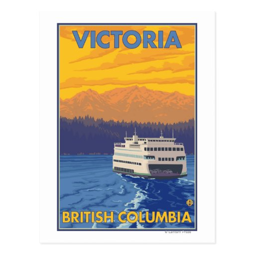 Ferry and Mountains - Victoria, BC Canada Post Card