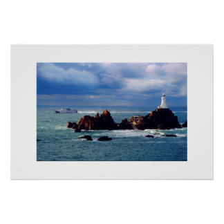 FERRY PASSING CORBIERE LIGHTHOUSE POSTER