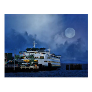 Ferry under the moon postcard
