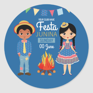 Festa Junina Corporate/Club Party Classic Round Sticker