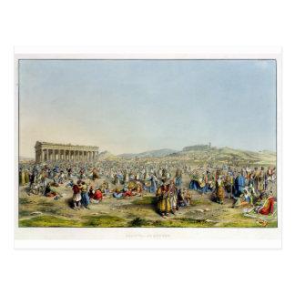 Festival at Athens, pub. by J. Rodwell, 1830 (aqua Postcard