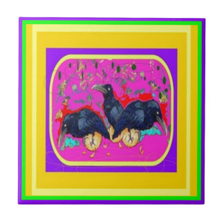 Festival Crows by Sharles Small Square Tile