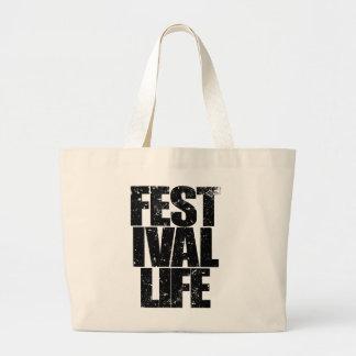 FESTIVAL LIFE (blk) Large Tote Bag