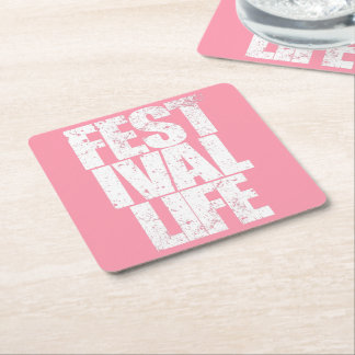 FESTIVAL LIFE (wht) Square Paper Coaster