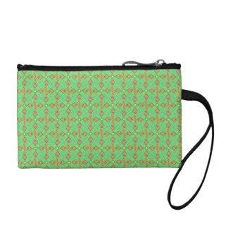 festival pattern green/mint coin purse