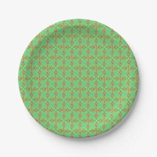 festival pattern green/mint paper plate