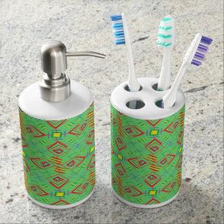 festival pattern green/mint soap dispenser and toothbrush holder