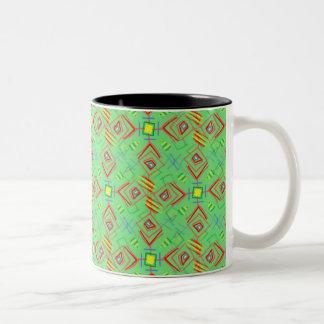 festival pattern green/mint Two-Tone coffee mug