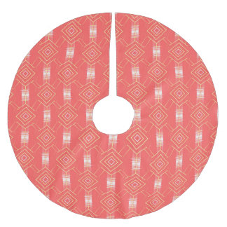 festival pattern peach brushed polyester tree skirt