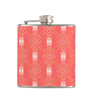 festival pattern peach hip flask