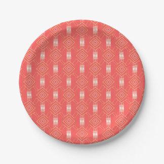 festival pattern peach paper plate
