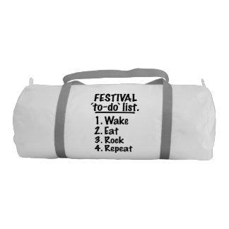 Festival 'to-do' list (blk) gym bag