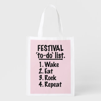 Festival 'to-do' list (blk) reusable grocery bag