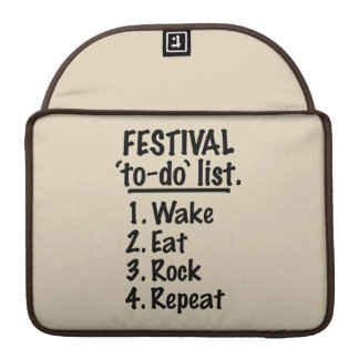 Festival 'to-do' list (blk) sleeve for MacBook pro