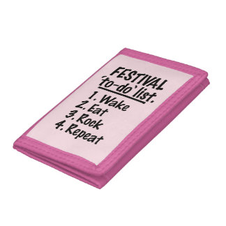 Festival 'to-do' list (blk) tri-fold wallet