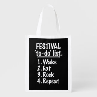 Festival 'to-do' list (wht) reusable grocery bag