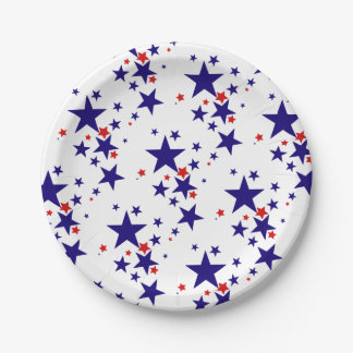 Festive 4th of July Party Stars Red White Blue 7 Inch Paper Plate