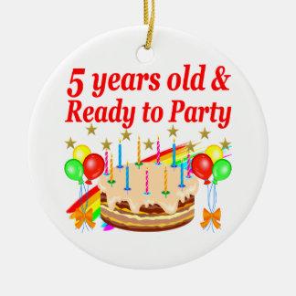 FESTIVE 5TH BIRTHDAY AND 5 YEAR OLD DESIGN ROUND CERAMIC DECORATION