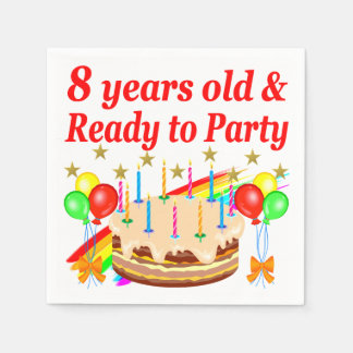 FESTIVE 8 YRS OLD AND READY TO PARTY BIRTHDAY CAKE DISPOSABLE NAPKIN
